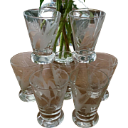 Set Of 7 Etched Crystal Sipper/Shots