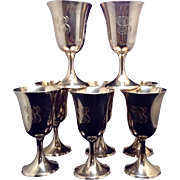 "Set Of 8 Sterling Goblets With ""B"" Engraved"