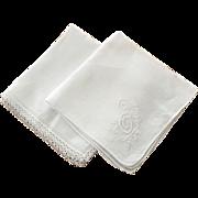 Vintage White Linen Hankies