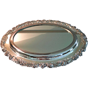 Vintage Oval Silver Plated Mirror Plateau