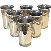 "Set Of 6 Silver Plated ""Paisley"" Tumblers"