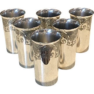 """Set Of 6 Silver Plated """"Paisley"""" Tumblers"""