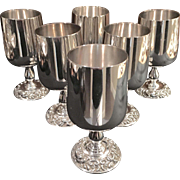 Set 6 Silver On Copper Wine Goblets