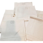 Set Of 9 Oversized European Damask Linen Towels