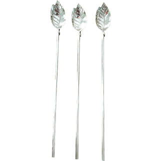 Set Of 3 Tiffany Sterling Sipper/Straws