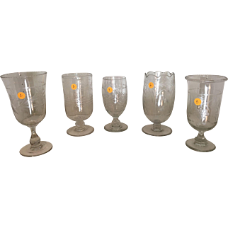English Crystal/Etched Celery Jars/Holders  C:1900  (2 Available)