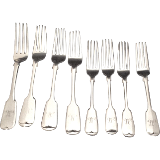 "Set Of 4 Each ""Old English"" Pattern Dinner and Dessert Forks With ""M"""