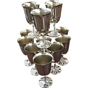 Set Of Twelve Silver Plated Goblets
