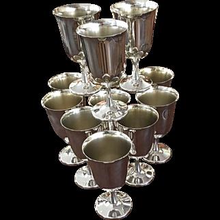 Set Of Twelve Silver Plated Goblets