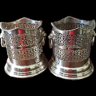 Pr. English Silver On Copper Wine Coasters