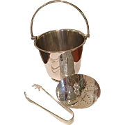 English Silver Plated Ice Bucket And Tongs
