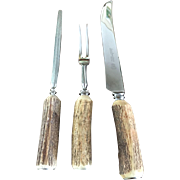3 Piece English Horn Handle Carving Set