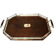 Walker & Hall Oak/Silverplated Gallery Tray C:1905