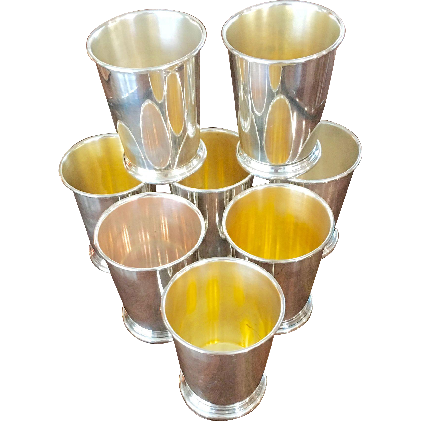 Set Of 8 Silverplated Julep Cups