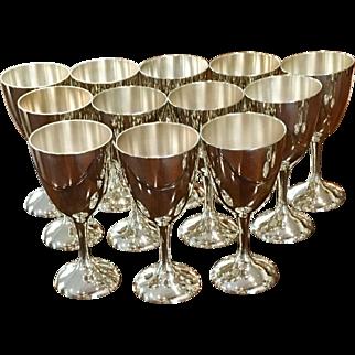Set Of 12 Vintage International Goblets