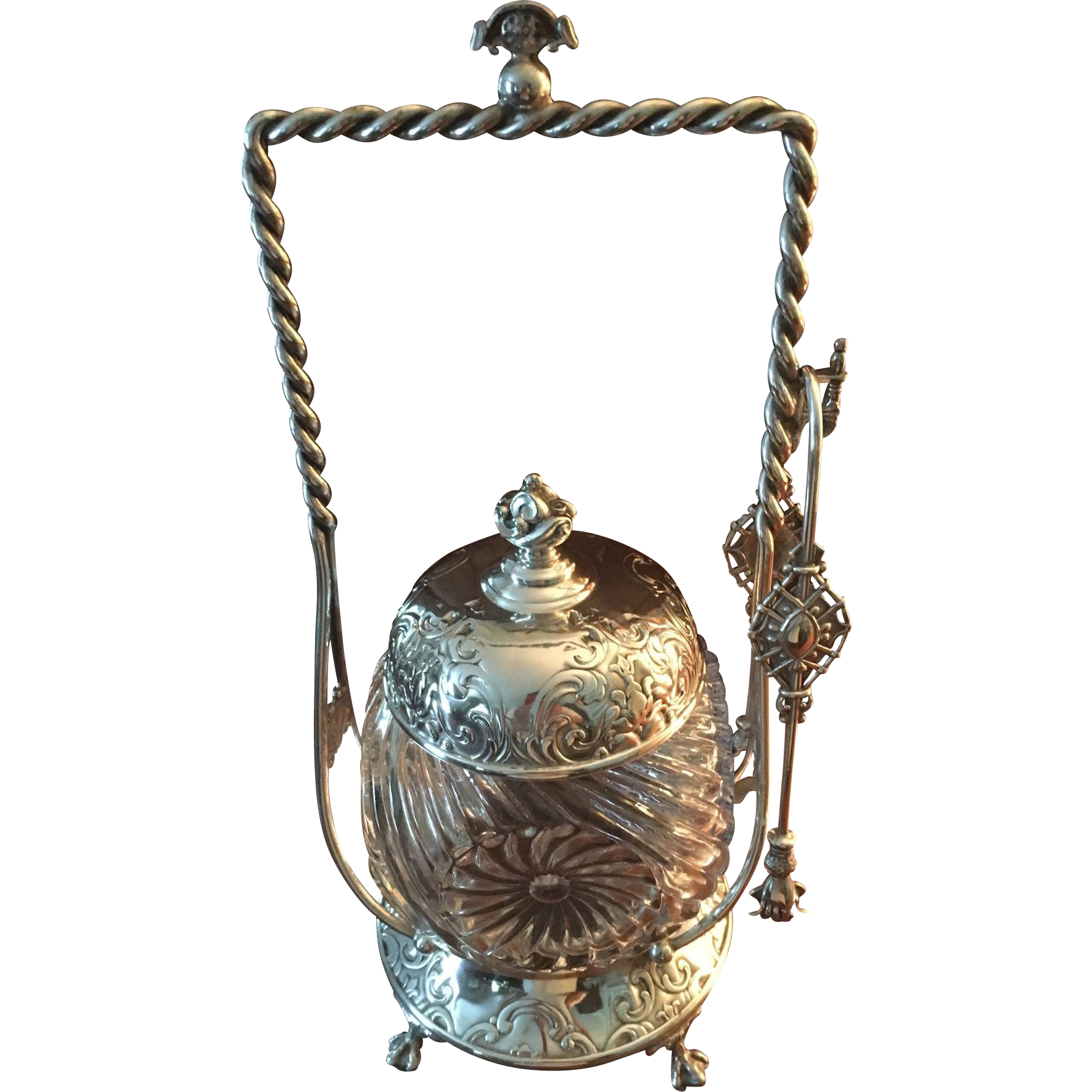 Antique Rogers Bros. Pickle Jar With Tongs C:1880