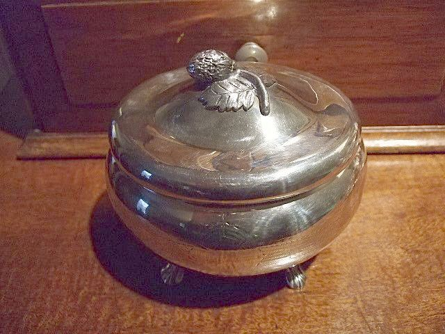 Silverplated Footed Hinged Oval Box With Strawberry on Top.