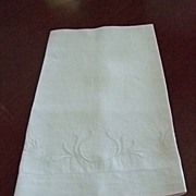 European Linen Towel with Embroidered Design at Bottom