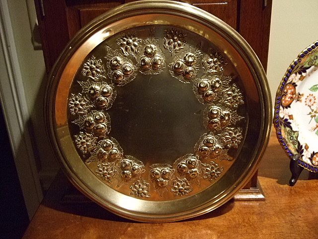 "Antique English 12"" Embossed Tray Dating:1884"