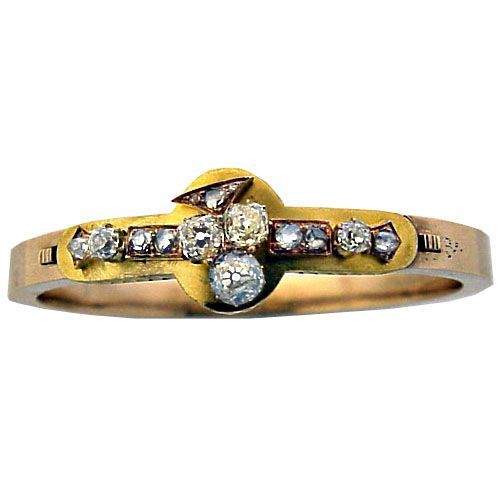 Antique Russian Diamond Gold Bracelet