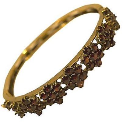 Antique Bohemian Garnet Floral Design 14K Gold Bangle Bracelet