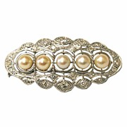 Art Deco Platinum Diamonds & Pearls Brooch