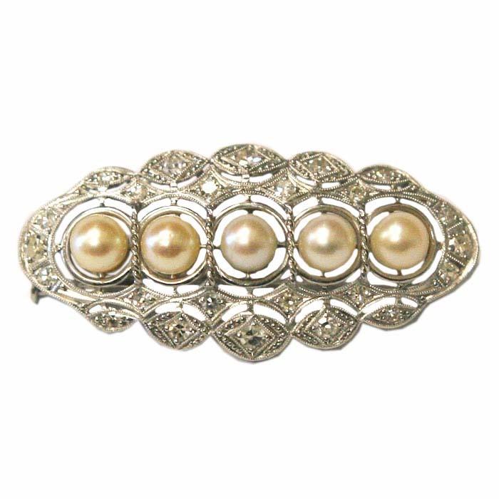 Art Deco Platinum Diamonds & Pearls Brooch