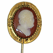 Antique Coral Cameo 14K Gold Pin