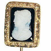 Antique Onyx Cameo 14K Gold Pin