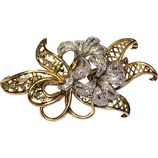 Antique Platinum & 18K Gold Flower Brooch with Diamonds
