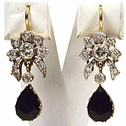 Estate 14K Gold Sapphire and Diamond Flower Design Earrings