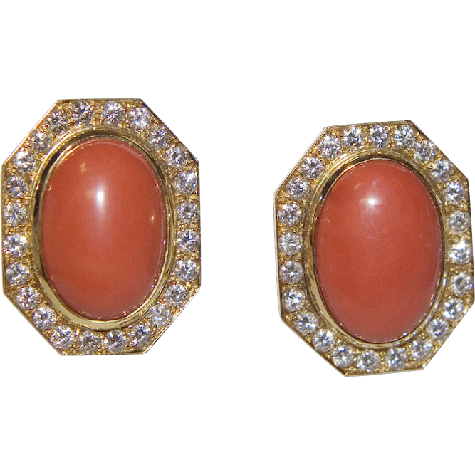 Vintage 18k Gold Coral and Diamond Earrings