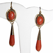 Antique Victorian 12K Gold Chandelier Coral Earrings