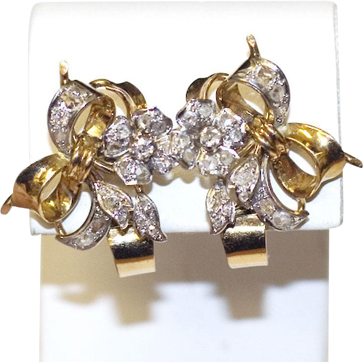 Antique Platinum & 18K Gold Flower Earrings with Diamonds