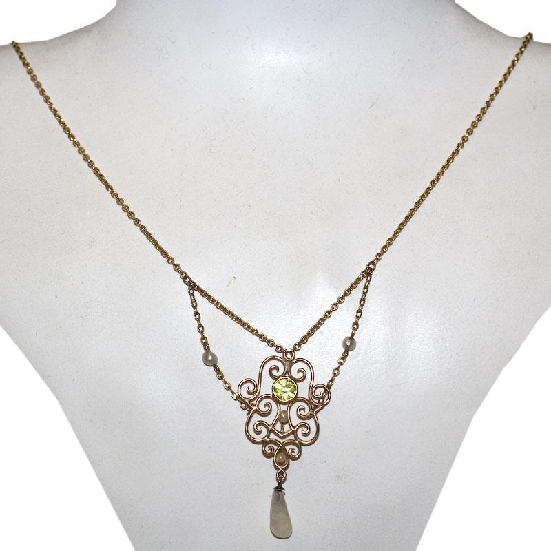 Antique Victorian Peridot 14K Gold Necklace