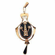 Antique Victorian 10K Gold Onyx And Seed Pearls Pendant