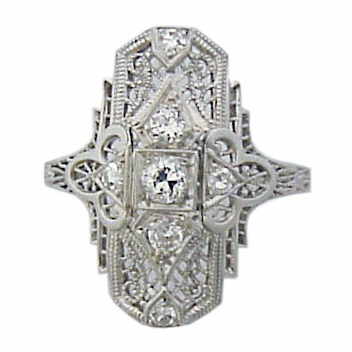 Art Deco Platinum Diamond Filigree Ring