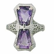 Art Deco 14K Gold Amethyst Filigree Ring