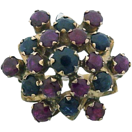 Victorian 9K Gold Sapphires & Rubies Ring