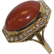 Vintage 18k Gold Coral & Diamond Ring