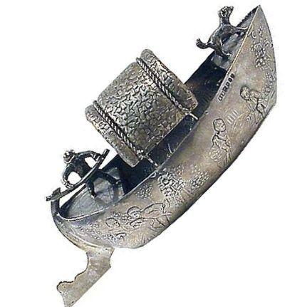 Antique Silver Venice Gondola XIX Century