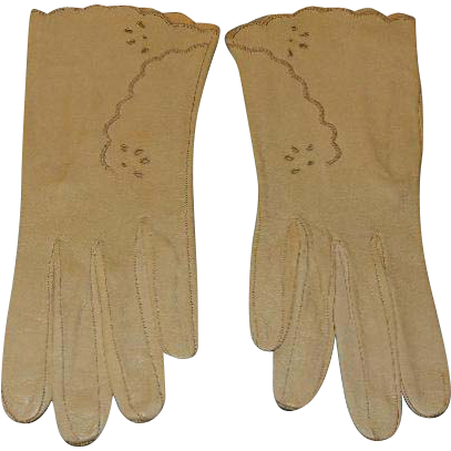 Vintage Lavabile Kid Leather Ecru Ladies Gloves