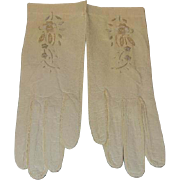 Vintage Italian Kid Leather Gloves Embroidered