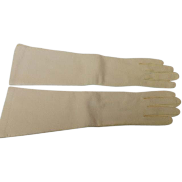 Vintage Elbow Length Bone White Kid Leather Gloves