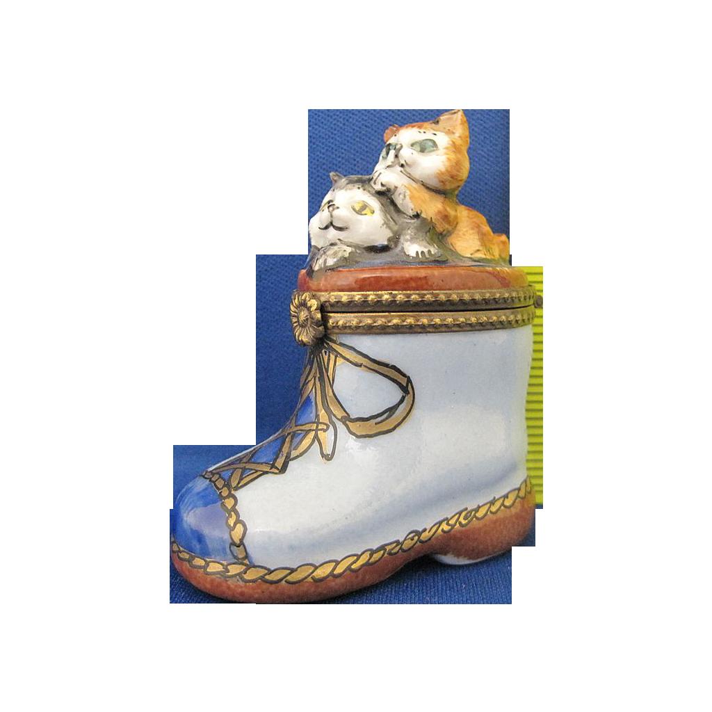Limoges France Vintage Porcelain Kittens in Blue Boot Trinket Box Artist Signed
