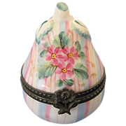 Limoges France Rochard Vintage Porcelain Figural Pear Shaped Trinket Box