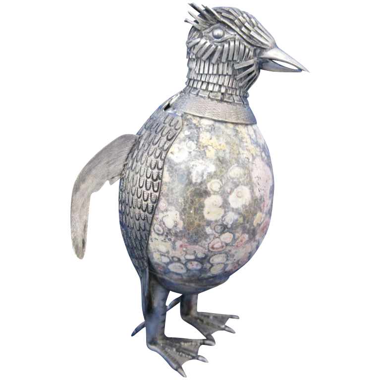 Vintage Silver and Marble Bird Figurine Made in Mexico