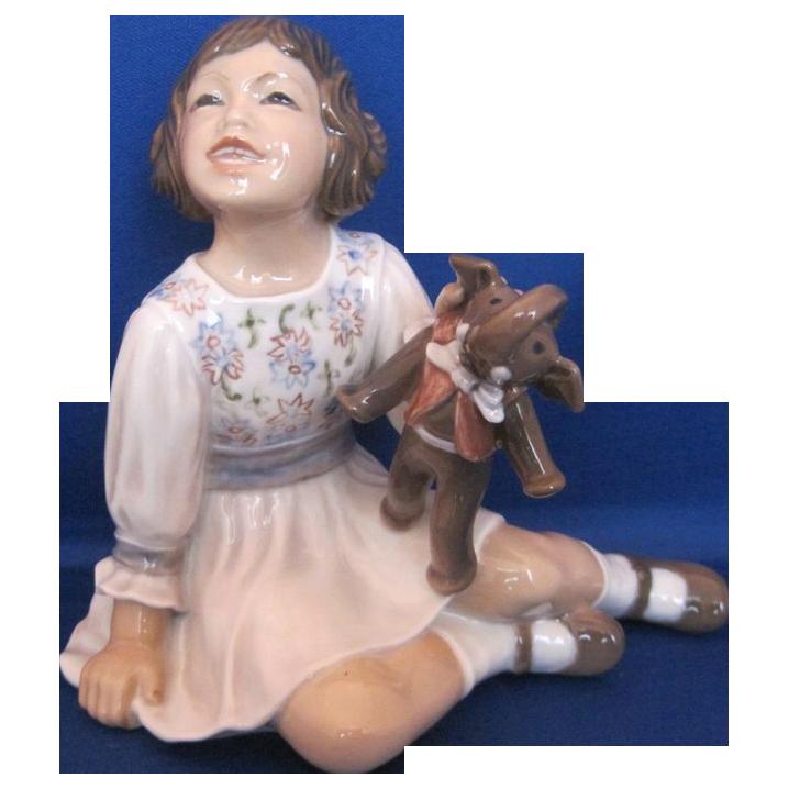 Dahl Jensen Number 1204 GIRL WITH TOY ELEPHANT Porcelain Figurine