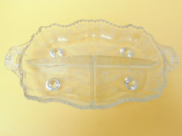 Cambridge Glass Rose Point Pattern 3 Part Celery and Relish Dish