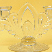 Cambridge Glass Rose Point 2 Lite Double Candleholder Candlestick